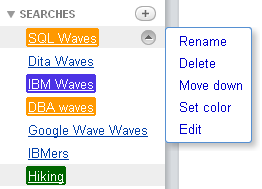 Additional search actions to organize your saved searches